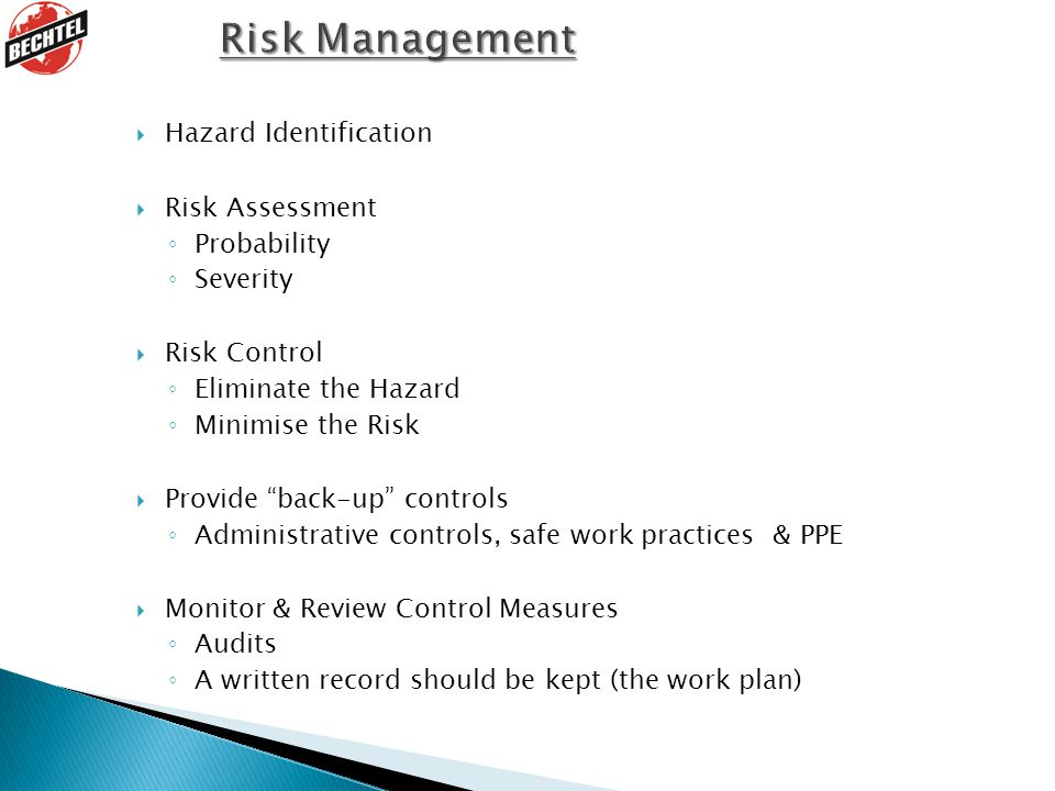 Risk Management Hazard Identification Risk Assessment Probability