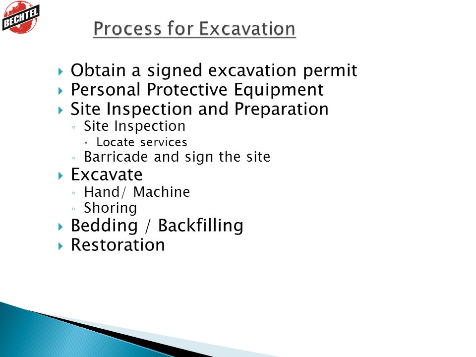 Process for Excavation