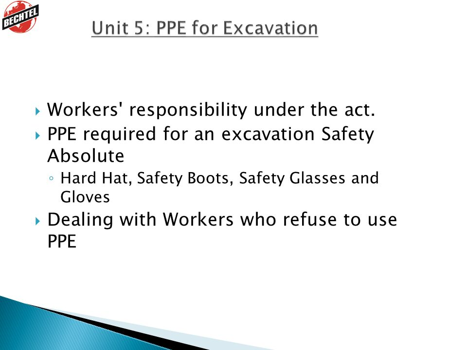Unit 5: PPE for Excavation