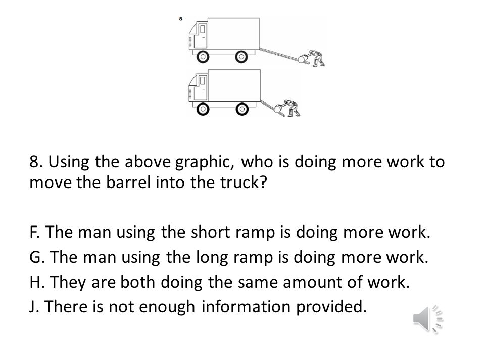 8. Using the above graphic, who is doing more work to move the barrel into the truck.