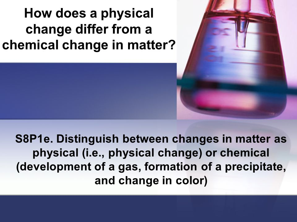 How does a physical change differ from a chemical change in matter