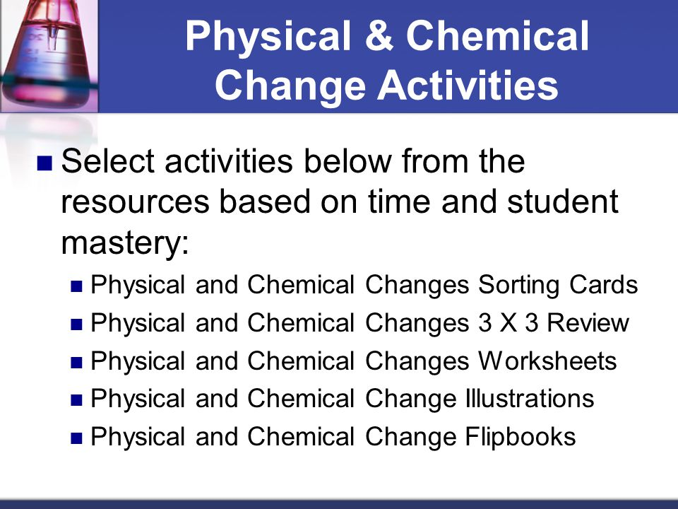 How does a physical change differ from a chemical change in matter – Worksheet Physical and Chemical Changes