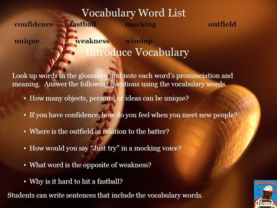 Vocabulary Word List Introduce Vocabulary