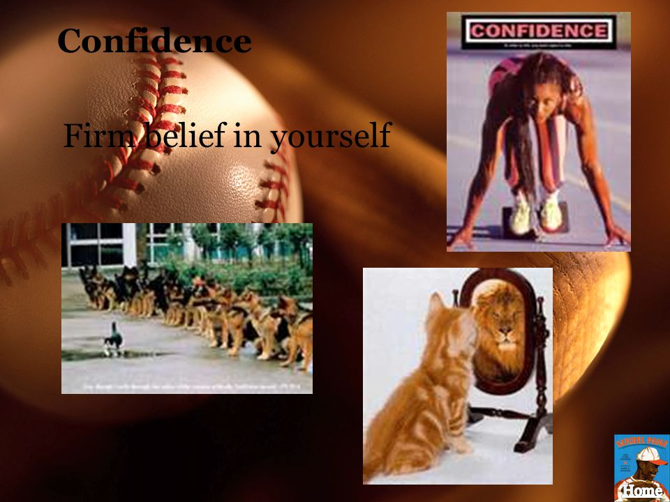 Confidence Firm belief in yourself
