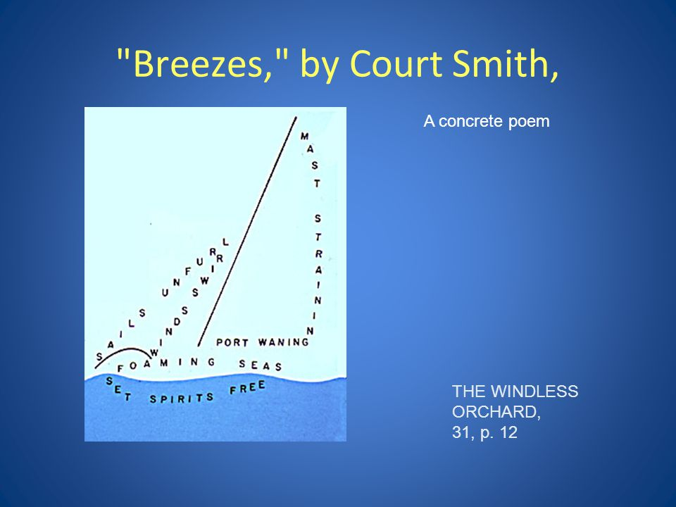 Breezes, by Court Smith, A concrete poem THE WINDLESS ORCHARD,