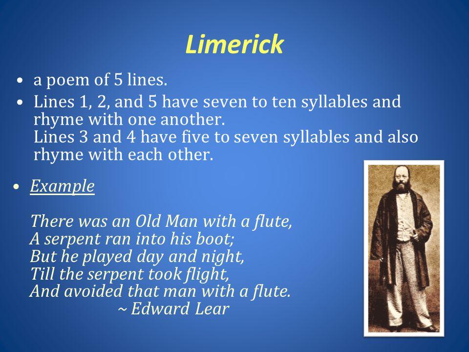 Limerick a poem of 5 lines.