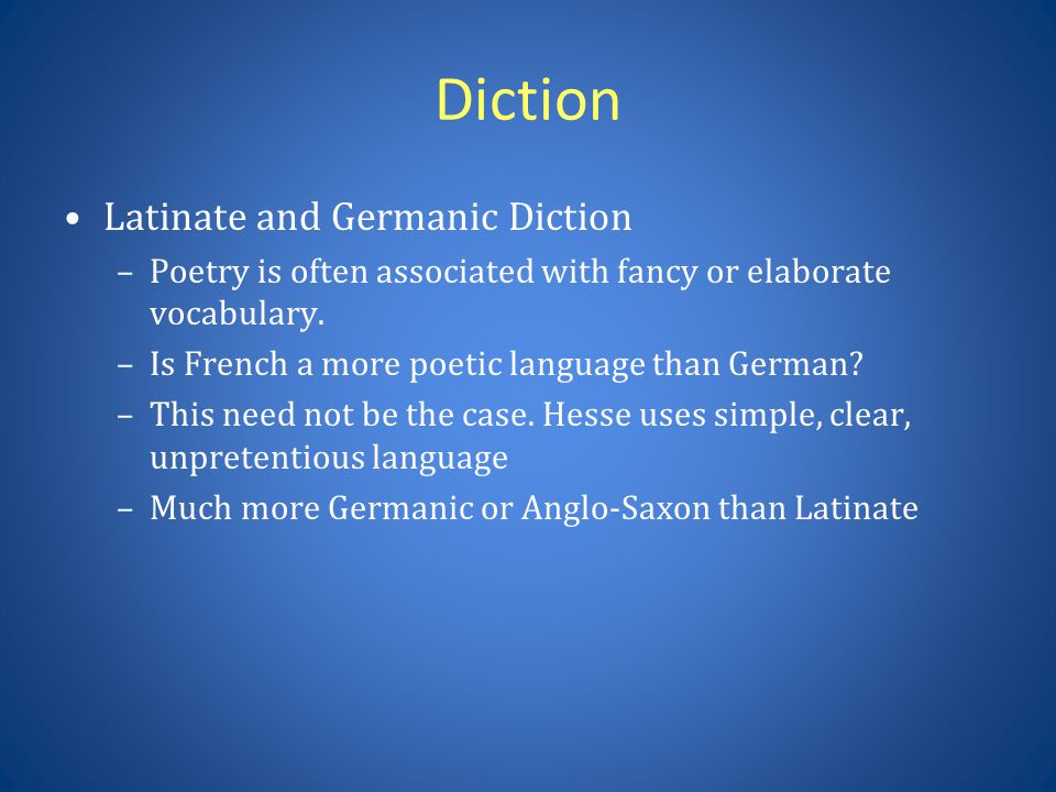 Diction Latinate and Germanic Diction