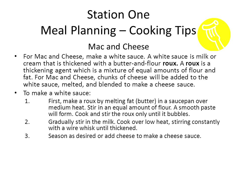 Station One Meal Planning – Cooking Tips