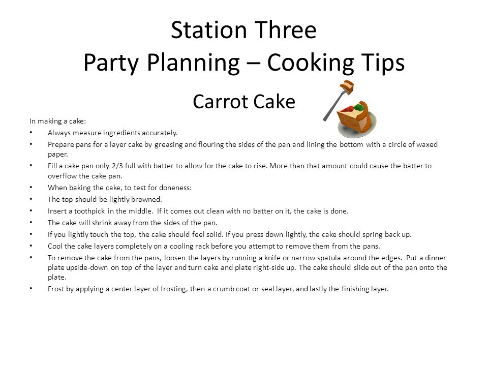 Station Three Party Planning – Cooking Tips