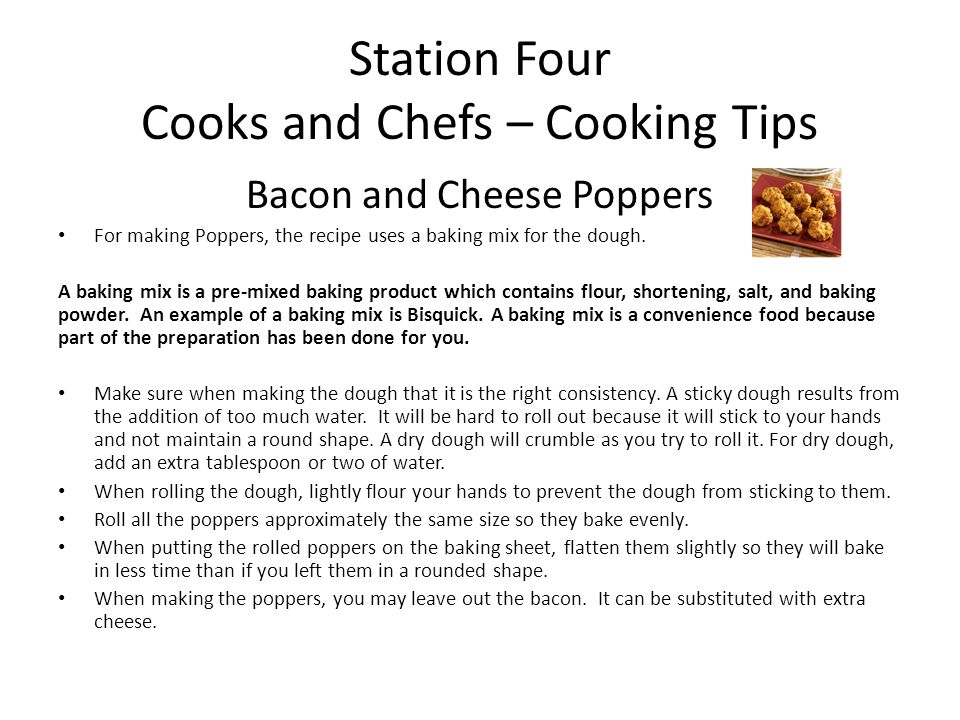Station Four Cooks and Chefs – Cooking Tips