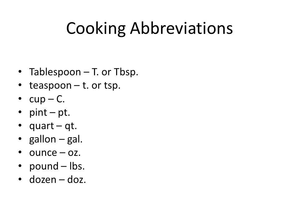 Cooking Abbreviations