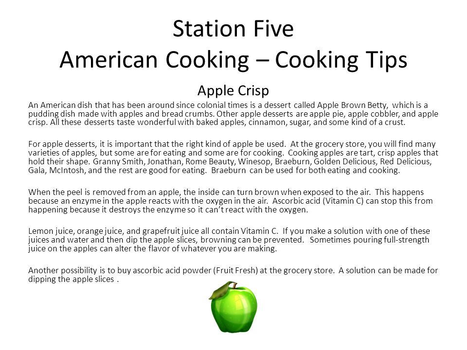 Station Five American Cooking – Cooking Tips