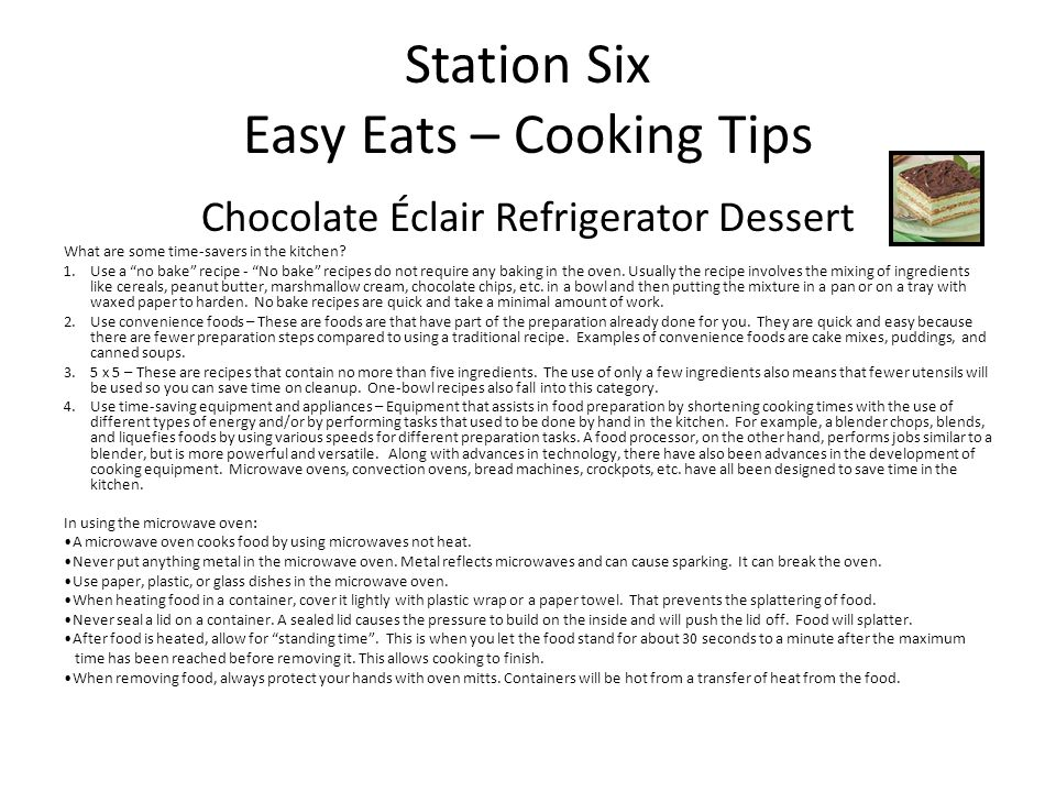 Station Six Easy Eats – Cooking Tips
