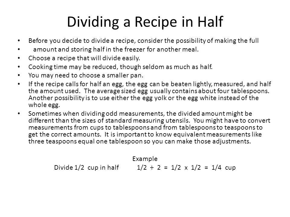 Dividing a Recipe in Half