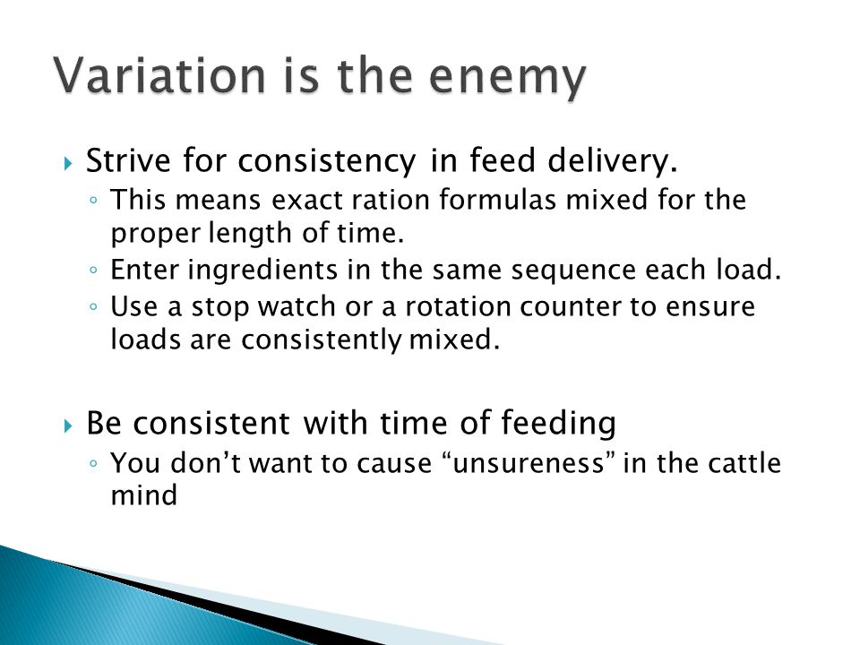 Variation is the enemy Strive for consistency in feed delivery.