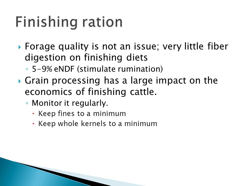 Finishing ration Forage quality is not an issue; very little fiber digestion on finishing diets. 5-9% eNDF (stimulate rumination)