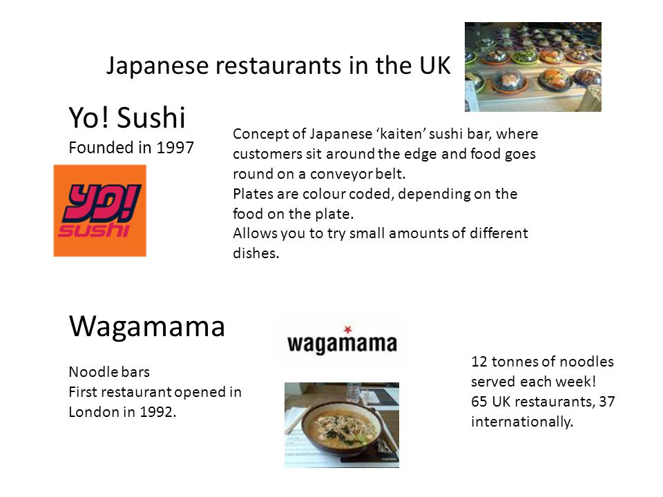 Yo! Sushi Wagamama Japanese restaurants in the UK Founded in 1997