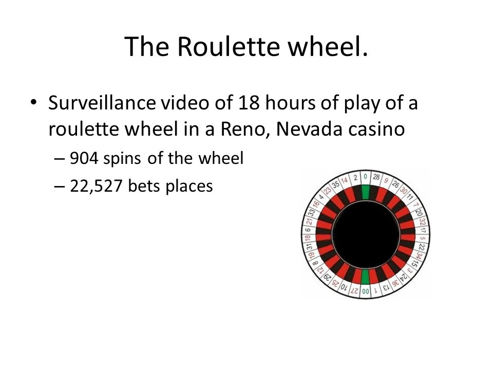 The Roulette wheel. Surveillance video of 18 hours of play of a roulette wheel in a Reno, Nevada casino.