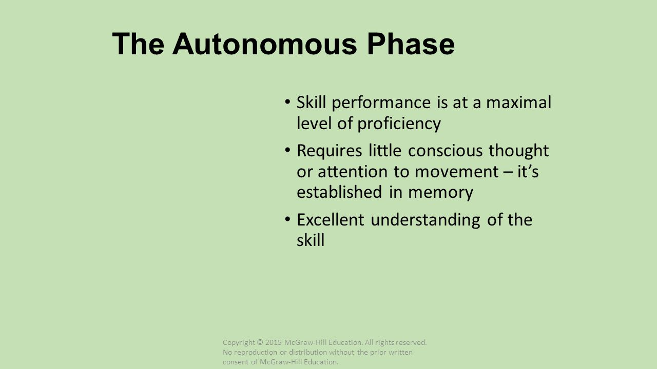 The Autonomous Phase Skill performance is at a maximal level of proficiency.