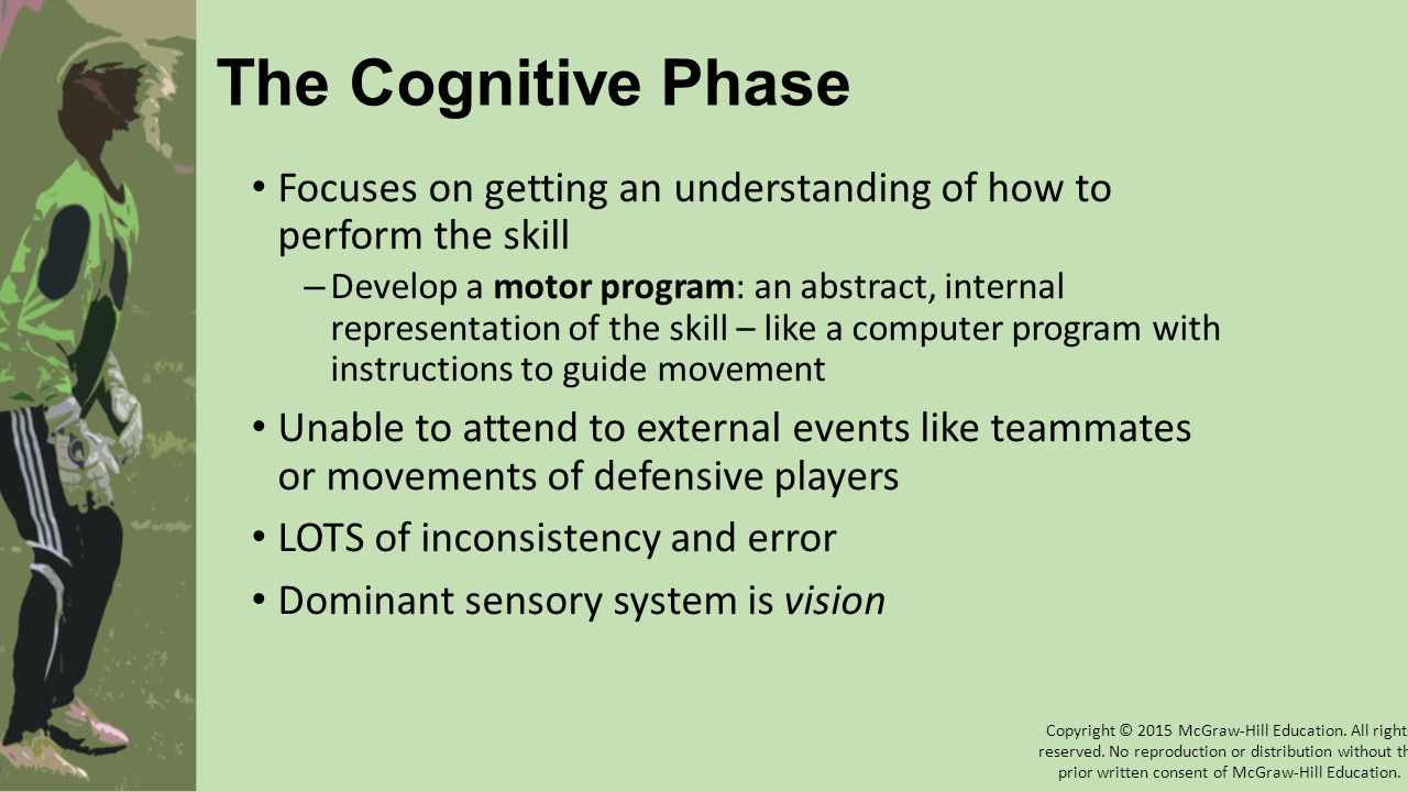 The Cognitive Phase Focuses on getting an understanding of how to perform the skill.