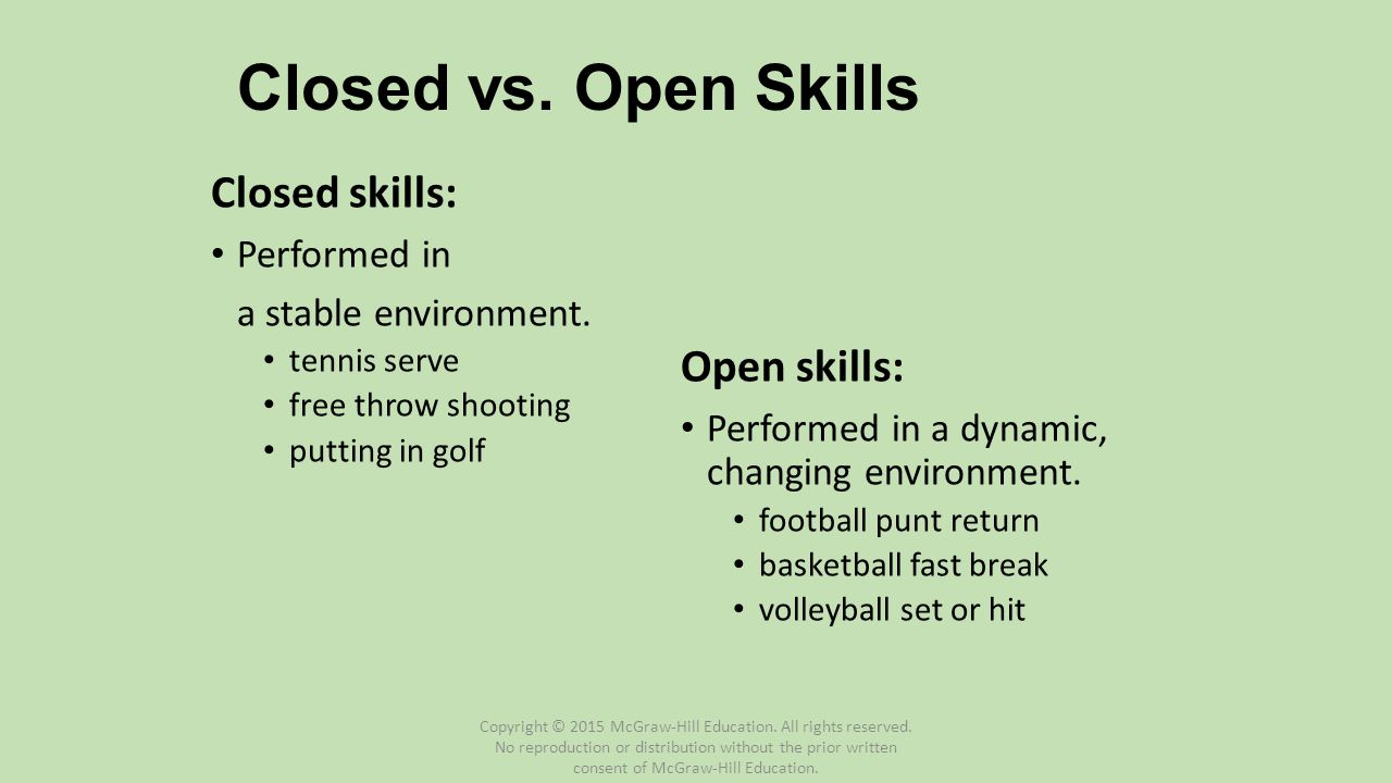 Closed vs. Open Skills Closed skills: Open skills: Performed in