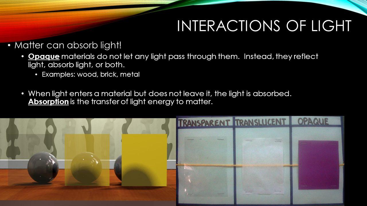 Interactions of Light Matter can absorb light!