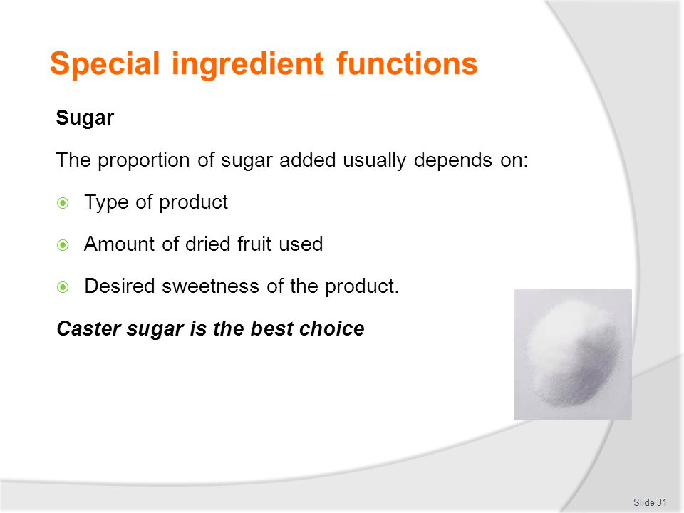 Special ingredient functions