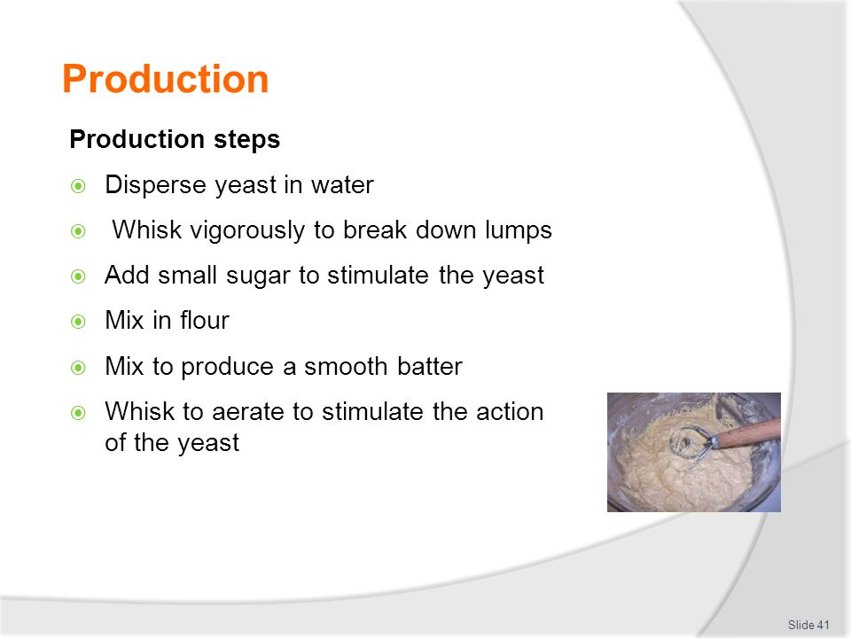 Production Production steps Disperse yeast in water