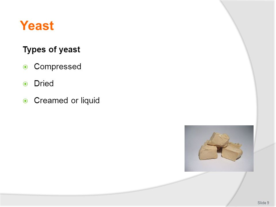 Yeast Types of yeast Compressed Dried Creamed or liquid