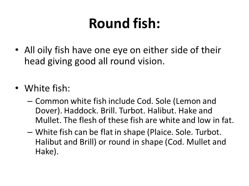 Round fish: All oily fish have one eye on either side of their head giving good all round vision. White fish: