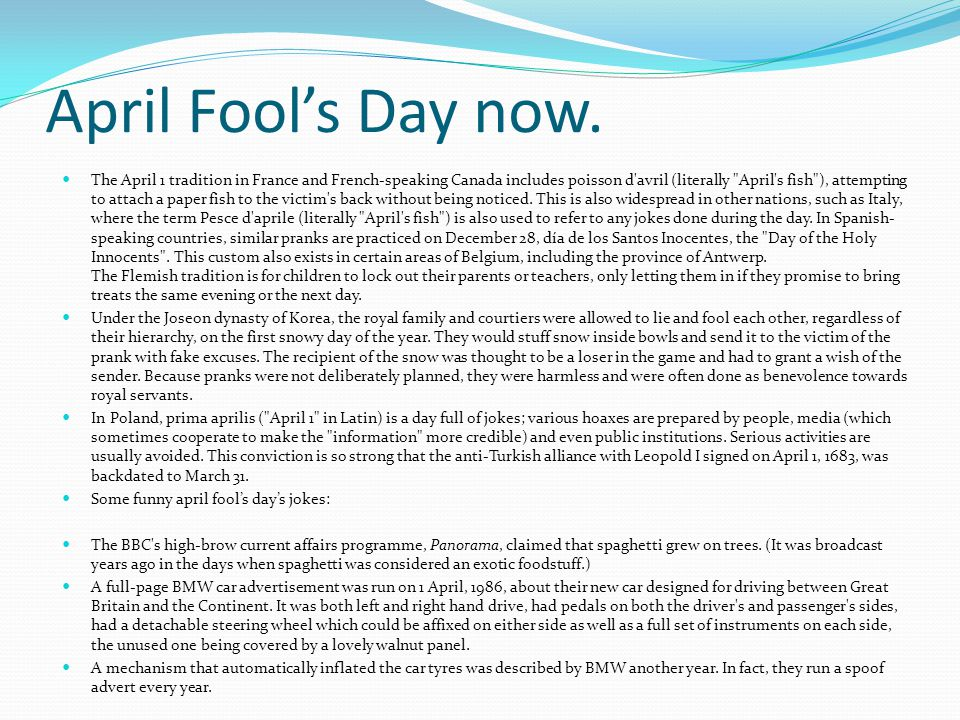 April Fool's Day now.