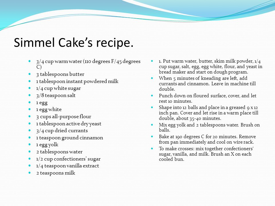 Simmel Cake's recipe. 3/4 cup warm water (110 degrees F/45 degrees C)