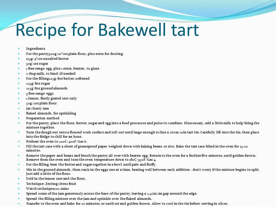 Recipe for Bakewell tart