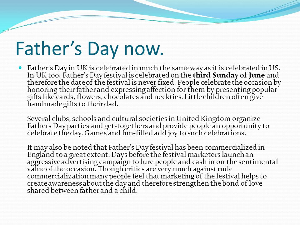 Father's Day now.