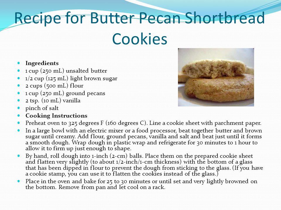 Recipe for Butter Pecan Shortbread Cookies