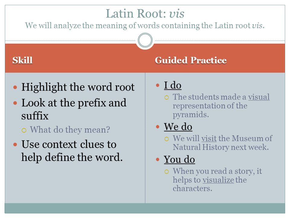 Latin Root: vis We will analyze the meaning of words containing the Latin root vis.