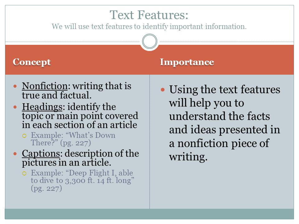Text Features: We will use text features to identify important information.