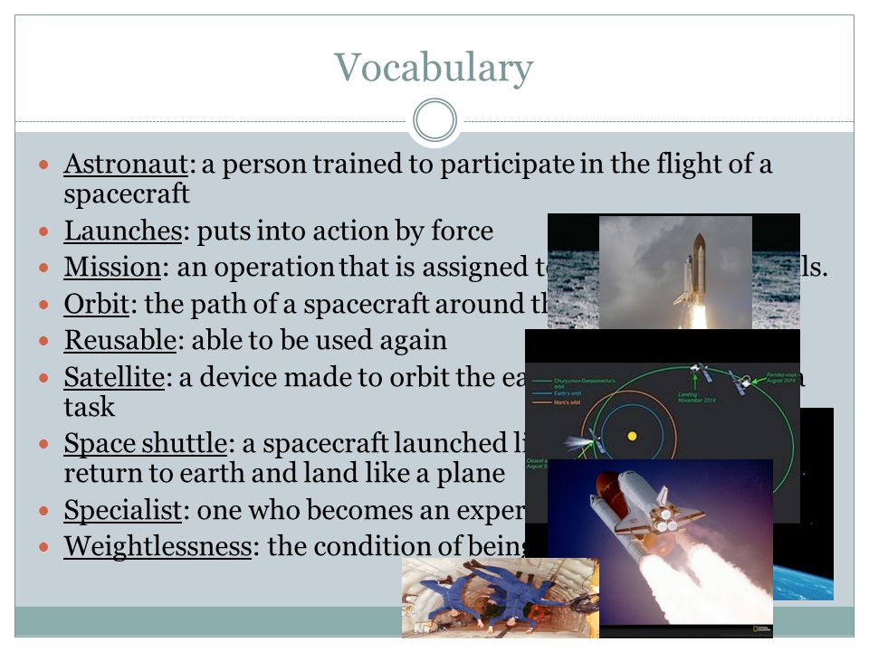 Vocabulary Astronaut: a person trained to participate in the flight of a spacecraft. Launches: puts into action by force.