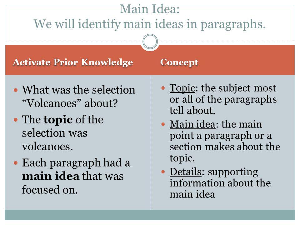 Main Idea: We will identify main ideas in paragraphs.
