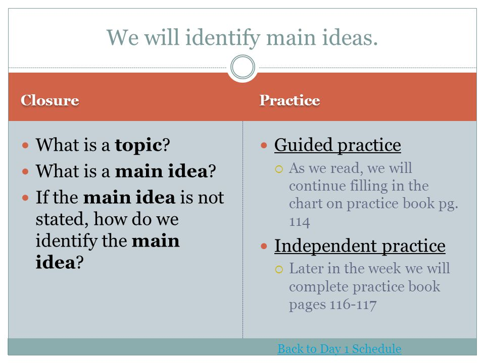 We will identify main ideas.