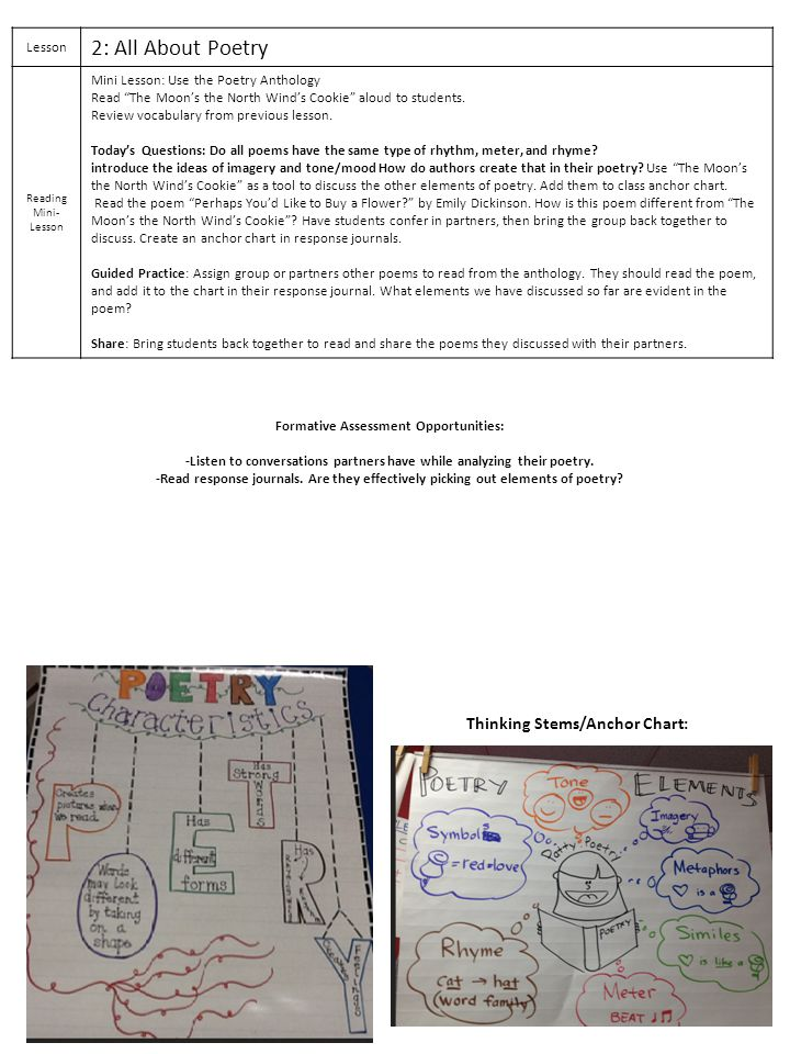 2: All About Poetry Thinking Stems/Anchor Chart: Lesson