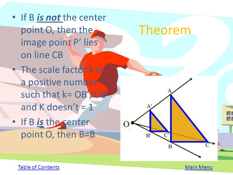 If B is not the center point O, then the image point P' lies on line CB