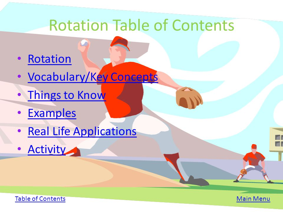 Rotation Table of Contents