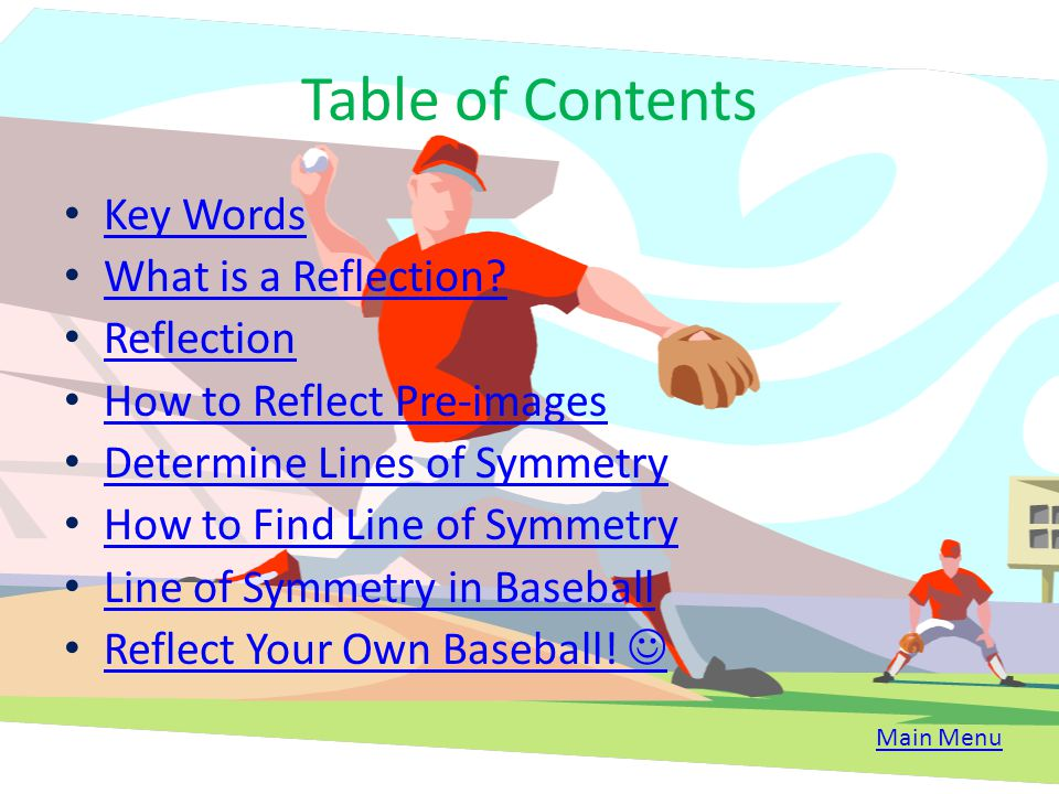 Table of Contents Key Words What is a Reflection Reflection