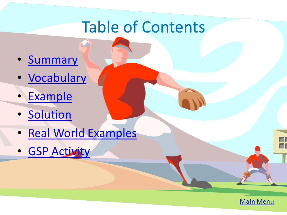 Table of Contents Summary Vocabulary Example Solution