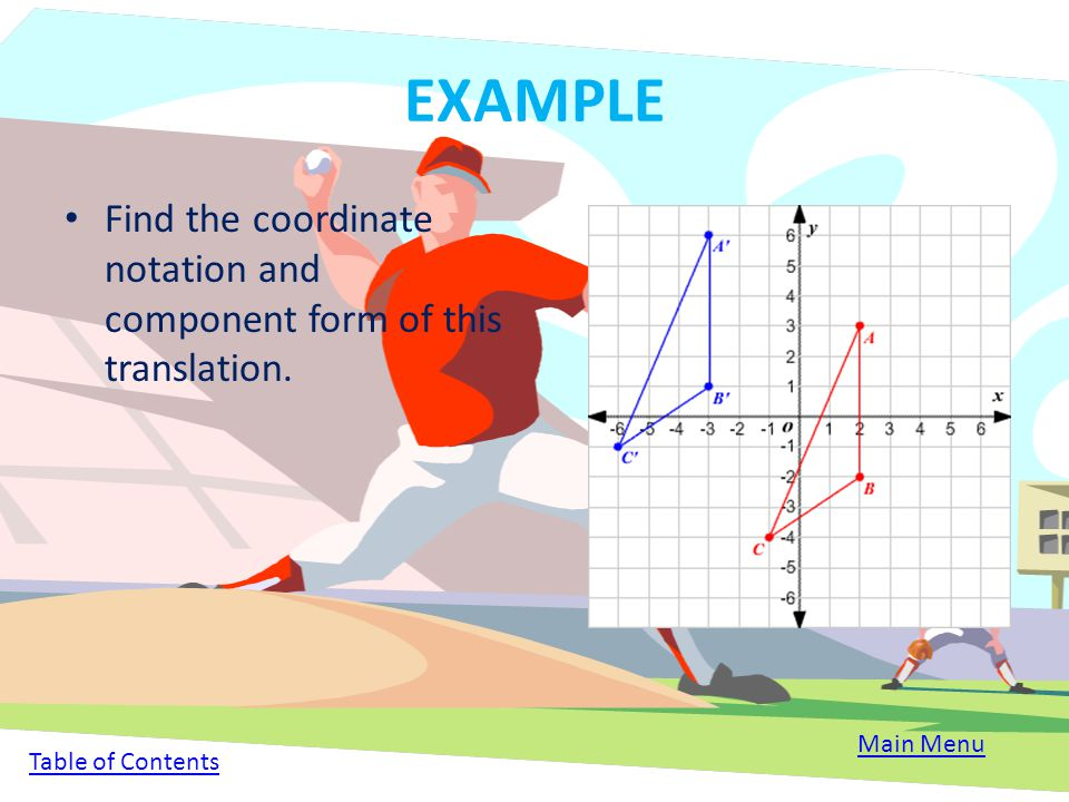 EXAMPLE Find the coordinate notation and component form of this translation.