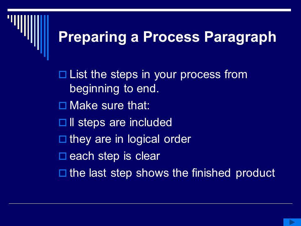 Preparing a Process Paragraph