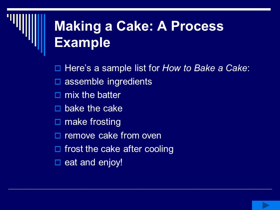 Making a Cake: A Process Example