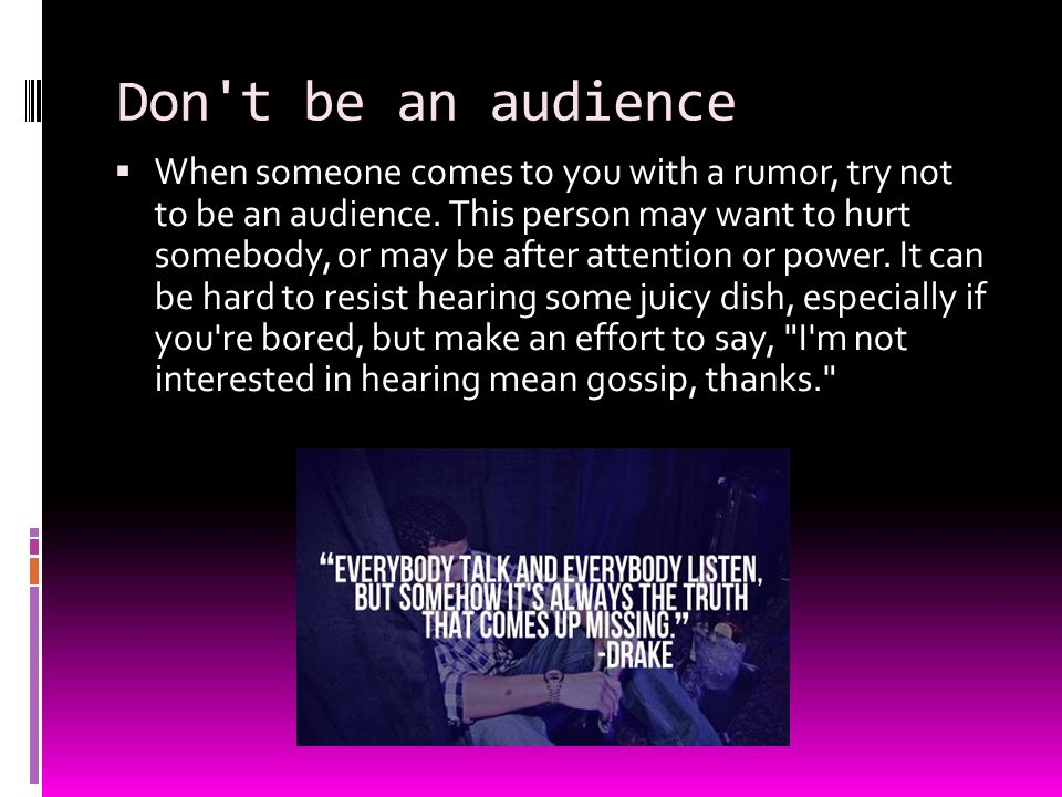 Don t be an audience