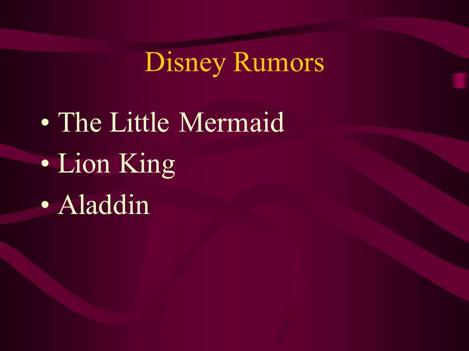 Disney Rumors The Little Mermaid Lion King Aladdin